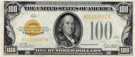 US$100 Gold Certificate