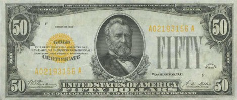 US$50 Gold Certificate