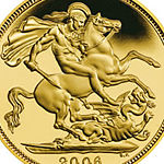 2006 Gold Proof Half-Sovereign depicting Saint George.
